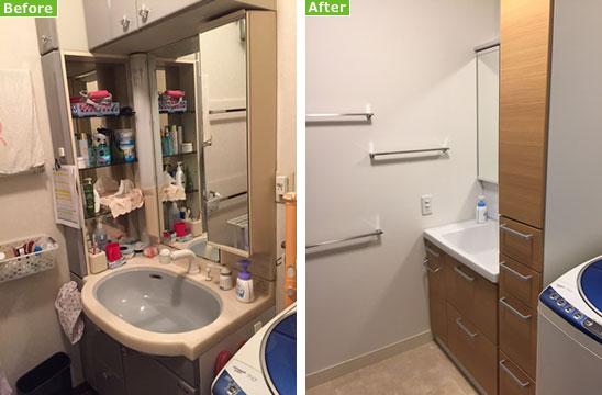 【画像2】左:リフォーム前の洗面化粧台。汚れやすい洗面と非効率な収納が問題だった。右:リフォーム後:ポイントは一体型洗面とスッキリした収納(写真撮影/松村徹)