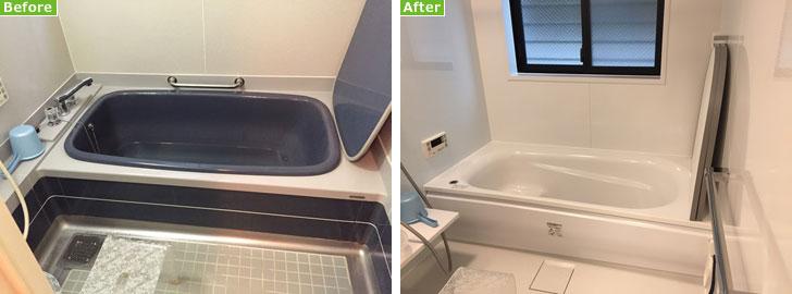 【画像3】左:リフォーム前のお風呂。硬くて冷たい床と狭い洗い場、容量が大きすぎる浴槽が問題だった。右:リフォーム後:ポイントは柔らかくて温かい床と広い洗い場、節水型浴槽とシャワー(写真撮影/松村徹)