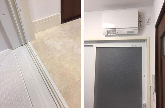 【画像4】左:段差のなくなった浴室と洗面所。右:ヒートショック対策のために洗面所に暖房機を取り付けた(写真撮影/松村徹)