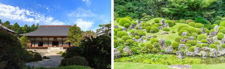 【画像2】左:天平5年(733年)に行基菩薩によって開創されたと伝わる龍潭寺/右:龍潭寺の池泉鑑賞式庭園(写真/PIXTA)