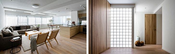 【画像2】少し白を加えたオークの床材で明るい印象の「HOLIDAY」タイプの室内(画像提供/リビタ)