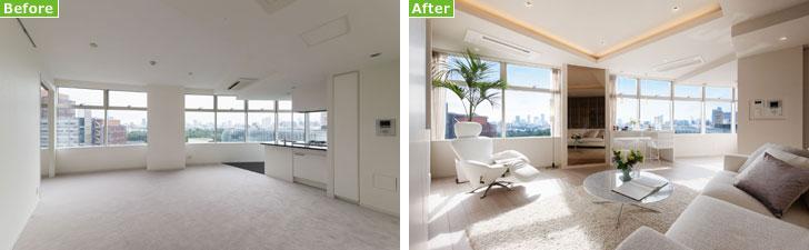 【画像4】室内のBeforeAfterの例。よりラグジュアリーな印象に変わった(画像提供/東急不動産)