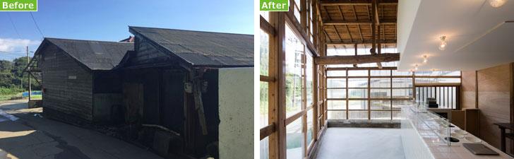 【画像3】写真左:(Before)小屋といっても大きめなつくり。アイデア次第でさまざまに活用できそう。写真右:(After)既存の外壁を透明なポリカーボネートの波板に替えたことで、屋外から店内の様子が分かり、多くの外光を取り込めるつくりに(画像提供/中村晃氏)