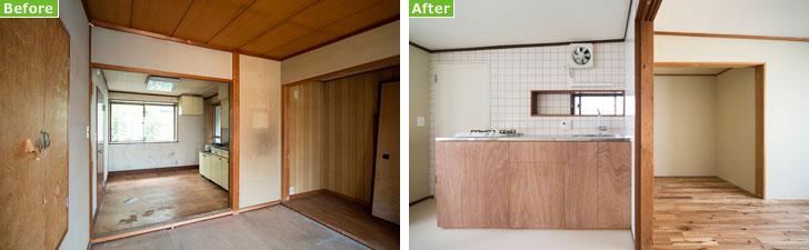 【画像4】写真左:(Before)全体的に古さが目立ちます。写真右:(After)元の間取りを生かしつつ、内装はほとんど刷新して快適そうな雰囲気に(画像提供/中村晃氏)