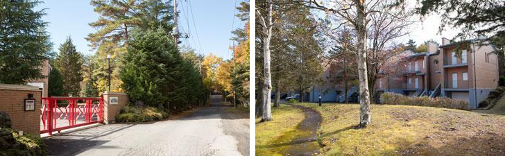 【画像5】赤いゲートを抜けると、中は大きな敷地、テニスコートもある16軒の集合住宅型別荘(写真撮影/片山貴博)
