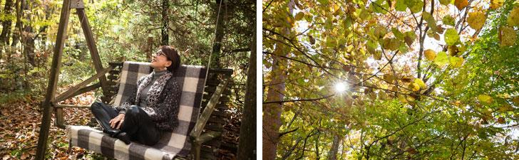 【画像13】私のお気に入りスポット!木製ブランコ@テラス。取材日は穏やかな昼下がりだった(写真撮影/片山貴博)