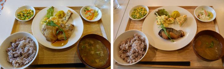 【画像2】チキンソテー照焼ソースと魚の味噌漬け焼きセット。栄養バランスが良く、食材の味を生かした優しい味です。ご飯は白米と五穀米から選べます。この充実した食事を500円で提供してもらえるのはとてもありがたいことですね(写真撮影/金井直子)