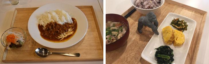 【画像3】写真左:池田さんのレシピを採用したハヤシライス「ハヤシ社長」500円(写真撮影/SUUMOジャーナル編集部)。写真右:朝食はご飯、豚汁、卵料理と副菜2種で100円! 2食頼む学生さんもいるとか。それでも200円!(写真提供/トーコーキッチン)