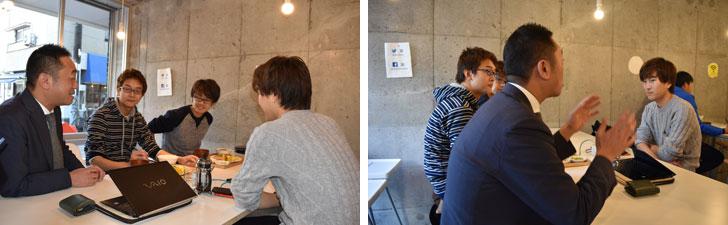 【画像5】「今日は何の集まりなの?」と会話に加わる池田さん。3人はテストお疲れ様会で朝から集まっていた学生さん。「食のこと、海外生活のこと、仕事のことなど、池田さんは幅広くいろんな話が飛び出てくるから楽しいですね」(写真撮影/SUUMOジャーナル編集部)