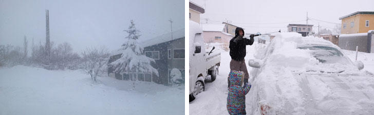 【画像1】右/夜に雪が降ることの多い岩見沢。朝の日課となるのは、まず車の雪を落とすこと(写真撮影/來嶋路子)