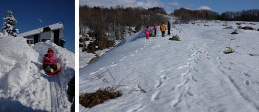 【画像4】左/家の裏にある雪山がすべり台に! ボブスレー並みのスピードが出ることも。右/近くの山の様子。夏ならササで覆われていて歩けない部分も、縦横無尽に歩くことができる(写真撮影/來嶋路子)