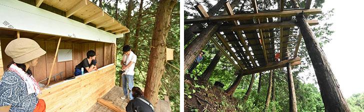 【画像12】ツリーハウスを実際に組み立てていく様子。デッキの土台は2tの重さに耐えられるボルトを8本仕様。そのボルトを木の幹の1/3の深さに埋め込むことにより、16tの重さに耐えられる上に、芯を残し、木本体へのダメージを最小限に抑えるので成長を邪魔することがないそう(写真撮影/谷口竜平)