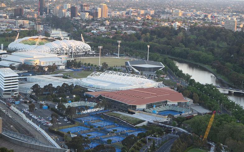 【画像1】ホテルから見えた!全豪オープンテニスの会場「メルボルン・パーク」。残念ながら開催前……(写真撮影/藤井繁子)