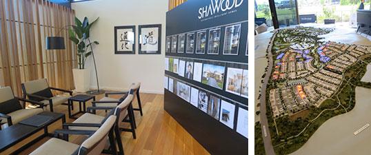 【画像11】販売センターは、書など和モダンなインテリアも。街の全体模型、隣接するゴルフコースを豪ゴルフレジェンドのグレッグ・ノーマン氏が監修しリデザインする(写真撮影/藤井繁子)