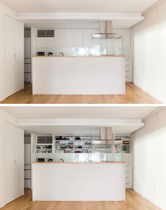 【画像11】画像2のS邸のキッチン背面収納でも、収めるものの高さと棚板の高さが合うよう調整されていました。細々したものをボックスにまとめたり、ものの形状によって縦置きしたりすれば、収納の密度が上がります(写真撮影/永野佳世、写真提供/アトリエサラ)