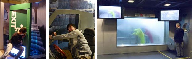 【画像7】左:「都市型水害体験コーナー」。地下のドアや浸水した車のドアが水圧で開けられなくなることを体験できます。右:「暴風雨体験コーナー」。風速30m/s、雨量30mm/hの強烈さを体験(画像提供/本所防災館)