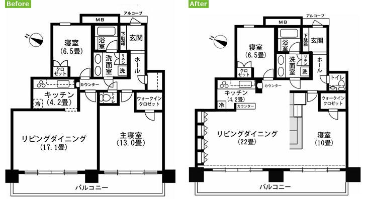 【画像2】リノベーション前(左)はリビング・ダイニングと主寝室の間にあった壁を、リノベーション後(右)は撤去。孤立していたキッチンの壁も一部取り払い、カウンターを設置。トイレは元納戸スペースに移設しました(画像作成/編集部)