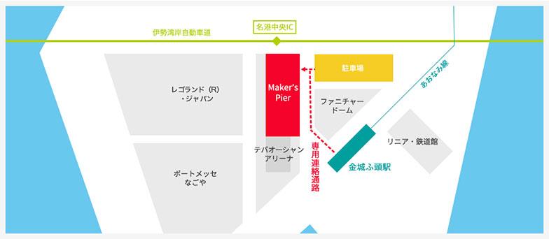 【画像4】金城ふ頭(きんじょうふとう)駅の周辺に、大型レジャー施設と駐車場が集まっている(画像提供/メイカーズ ピア)