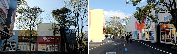 【画像8】左:デンマーク生まれのレゴにちなみ、コペンハーゲンの港町・ニューハウンをイメージした色彩の「アップタウン」 右:妖怪ウォッチのオフィシャルショップ「ヨロズマート」はキッズ受け抜群(写真撮影/倉畑桐子)