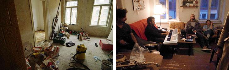 【画像4】居住者たちがセッションを楽しむリビング。写真左:3年前の改修中。写真右:現在(写真撮影/村島正彦)