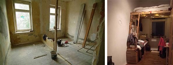 【画像5】シェアハウスの寝室。写真左:3年前の改修中。写真右:現在(写真撮影/村島正彦)