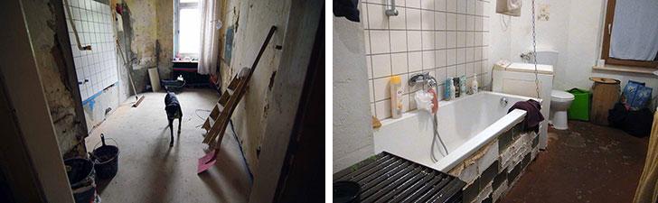 【画像6】浴室。写真左:3年前の改修中。写真右:現在(写真撮影/村島正彦)