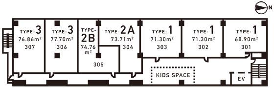 【画像2】7室ある「0to6 APR」フロアは、中央付近にキッズスペースがある(画像提供/エイトデザイン)
