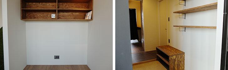 【画像10】高い場所に設置されたDVDラック(左)や、子どもが靴を履くときのための下駄箱ベンチ(右)は、ママの意見が取り入れられている(写真撮影/倉畑桐子)