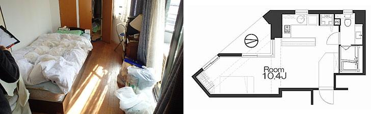 【画像1】左:リノベ前の寝室部分。普通の内装でした。右:リノベ後の間取り。玄関、LDK、寝室がオープンにつながっています(画像提供/REISM株式会社)