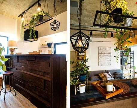 【画像3】キッチンカウンターは配膳台と食卓を兼ねていて、省スペース。古材や黒いアイアンのアイテムで味のある空間に仕上げています(画像提供/REISM株式会社)