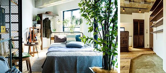 【画像5】左:寝室の造り付け収納はシンプル。飾る感覚で収納したいですね。右:玄関収納もシンプルな造作棚。ルーバー扉の中は洗濯機置場です(画像提供/REISM株式会社)