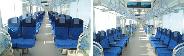 【画像4】座席は、ロングシート(写真右)とクロスシート(写真左)を転換できるのが特徴。クロスシートは、座席を回転させ4名での利用もできるので、家族や友達との利用にピッタリ(画像提供/西武鉄道)