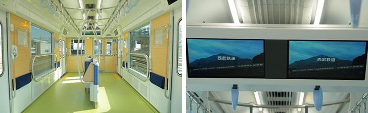 【画像5】10号車には、車いすやベビーカー、大きな荷物を持った人でも快適に過ごせる「パートナーゾーン」(写真左)を設置し、子どもが車窓からの景色を楽しめるよう、窓も大きめのデザインに。また、17インチディスプレイを2面に並べた「smileビジョン」(写真右)で、ニュースや天気予報などを放映する(画像提供/西武鉄道)
