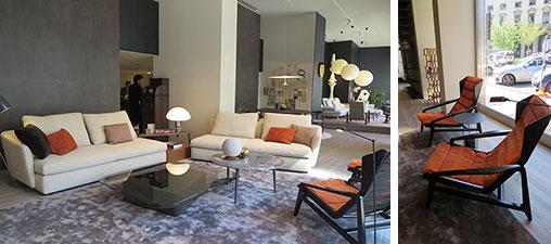 【画像2】ショールームのエントランス近く、Gio Pontiの椅子はオレンジ色ファブリックのNEWエディション(写真撮影/藤井繁子)