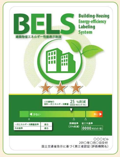 【画像1】建築物の省エネ性能の表示例(出典/「住宅・ビル等の省エネ性能の表示について」) 同じように★の数で表示され家電業界で普及している「省エネルギーラベル」の住宅版と捉えると理解しやすいだろう。