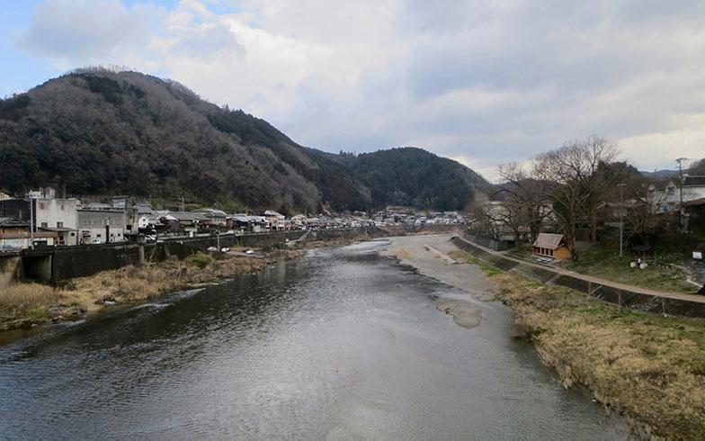 【画像2】吉野川にかかる『桜橋』から、右岸に「吉野杉の家」が見えた!(写真撮影/藤井繁子)