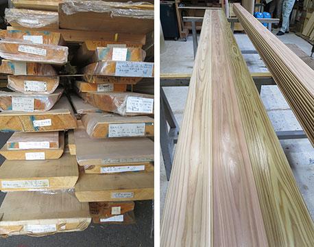 【画像17】製材され出荷前の杉板。本当に色つやが良く光沢に富んでいる@吉野中央木材(写真撮影/藤井繁子)