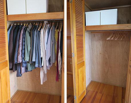 【画像7】ぎっしり詰まった30点の衣類を依頼するとクローゼットがすっきり! 春夏物を十分に収納できるのがうれしいです(写真撮影/内田優子)