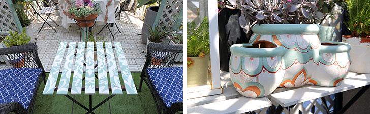 【画像6】安く手に入れたというテーブルや鉢植えなどのアイテムも、田中さん好みのグリーンをベースにしたオリジナルのデザインでペイントすればこのとおり(写真撮影/飯田照明)