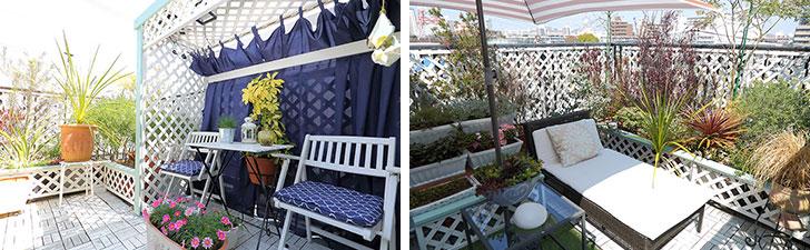 【画像7】写真左:ベランダに置かれたチェアは、全部で5カ所。そのときの気分にあわせて座る場所を変えているそう。写真右:左は寝そべってくつろげるベッドチェア。ベランダのグリーンを一望できる。クッション部分は取り外せるので雨の日は部屋に収納(写真撮影/飯田照明)