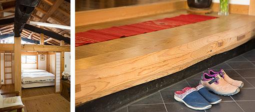 【画像3】写真左:2階に上がると、再利用した古材の丸太梁を間近に目にすることができる。写真右:玄関の上がり框(かまち)の床材も、祖父母宅で梁として使われていた松を削り上げたものだ(写真撮影/片山貴博)