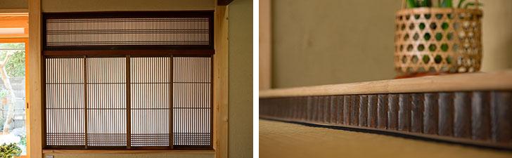 【画像4】写真左:1階の書院(床の間と障子、棚などから構成されるコーナー)の障子も、祖父母宅から運んできたもの。写真右:同じく書院の床の間。床框(とこかまち)にも、祖父母宅の古材が使われている(写真撮影/片山貴博)