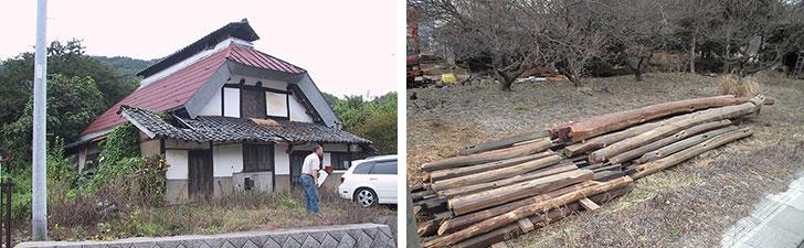 【画像5】写真左:取り壊す前の祖父母宅。武士の兜に似ている「カブト屋根」が特徴的だ。この家をつくるための木材はすべて、所有していた山林から切り出してきたと言う。写真右:解体工事を行いながら、再利用が可能な部材を選び出した。なかには長さ8mに及ぶものも(写真提供/田空間工作所)