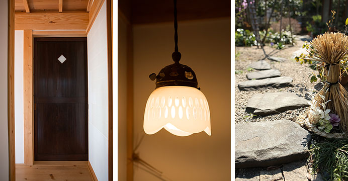 【画像6】写真左:1階トイレの扉。ほかの古民家から出た古材を、長さを調整して再利用。写真中央:同じく1階トイレの照明も、ほかの古民家のもの。写真右:建て替え前の自宅の庭にあった踏み石も再利用した(写真撮影/片山貴博)