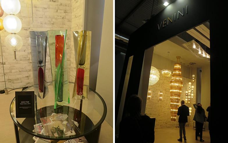 【画像5】VENINIで照明や花瓶もデザインしている安藤忠雄氏の「ANDO TIME」。ガラス彫刻の砂時計?(写真撮影/藤井繁子)