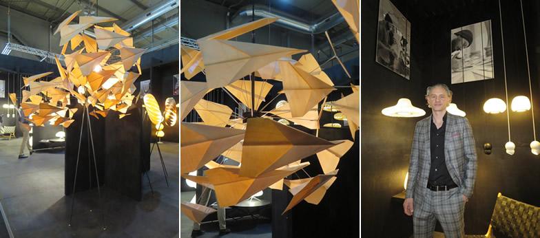 【画像13】コペンハーゲン(デンマーク)のデザイナーTom Rossau(トム・ロッサウ)。彼の後ろには和紙の照明「日本には行った事無いのだけど、和紙は好きな素材」と@Tom Rossau社(写真撮影/藤井繁子)