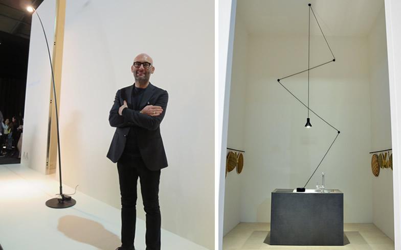 【画像20】ミニマルでシャープなデザインがカッコイイ、Davide Groppi。右が昨年のサンワカンパニーのキッチン展示(写真撮影/左:藤井繁子、右:Giuseppe de Francesco)