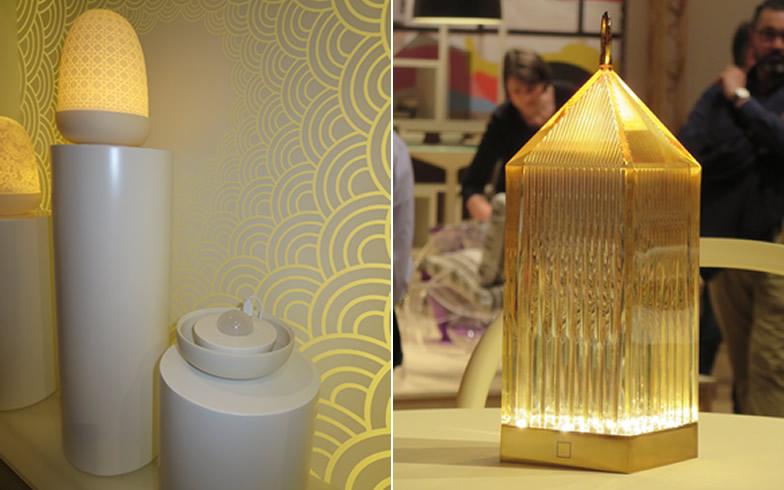 【画像23】(左)陶磁器のランプカバーを外すと、USBリチャージャー(7時間点灯)@LLADRO社 (右)プラスチックなら持ち運びも軽い、カラフルな色も揃う。導電性の基板に乗せるだけで充電@Kartell社(写真撮影/藤井繁子)