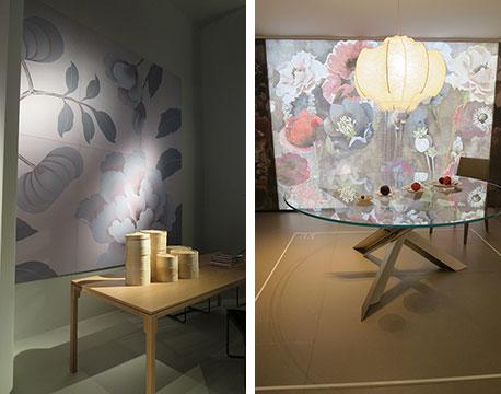 【画像7】壁紙などでパステルな今年風に演出するのもアイデア。左@driade(ドリアデ)・右@B&B Italia(ビーアンドビー・イタリア)(写真撮影/藤井繁子)