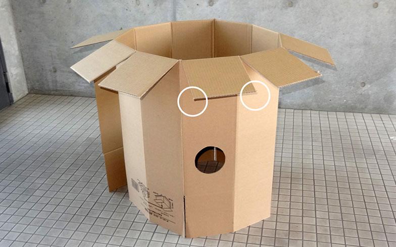 【画像15】手づくりのダンボールハウスも、丸いおうちならちょっぴり可愛くなる。白い丸で囲った部分は角をカットしても(写真提供/ダンボール倶楽部)